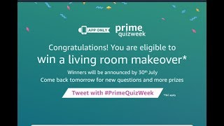 Win a living room makeover* - - Amazon prime week Quiz answers (App only)