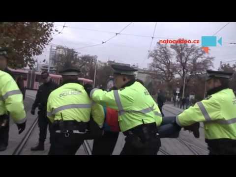 Při demonstraci 17. Listopadu v Brně muž upozorňoval na sebe a narušoval demonstraci. Městská   policie Brno proto chtěla může uklidnit ale ten nechtěl tak museli od doslova odnést.