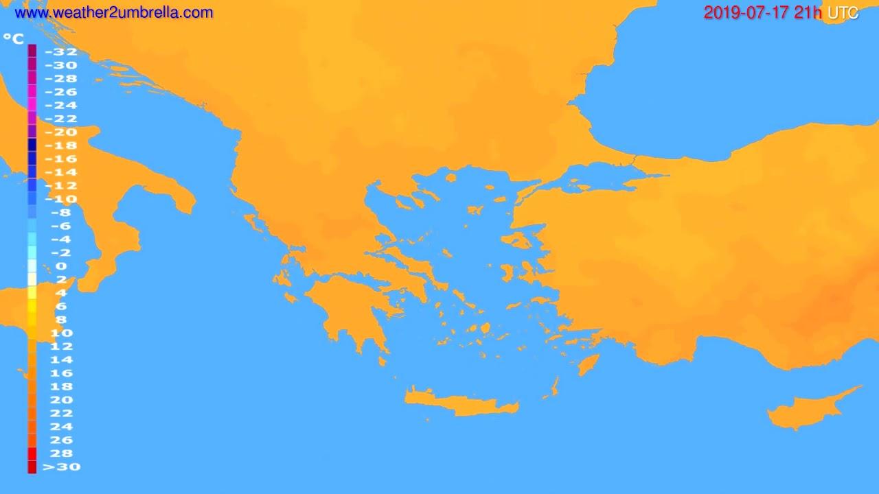 Temperature forecast Greece // modelrun: 12h UTC 2019-07-15