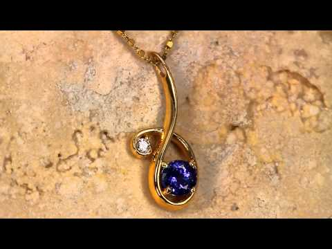 Christopher Michael Designed Pendant With a Vivid Color Round Tanzanite