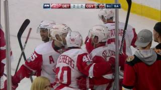 Tomas Tatar scored with one second remaining in regulation to force overtime against the Flames.