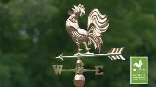 Crowing Rooster Weathervane - Polished Copper - Good Directions