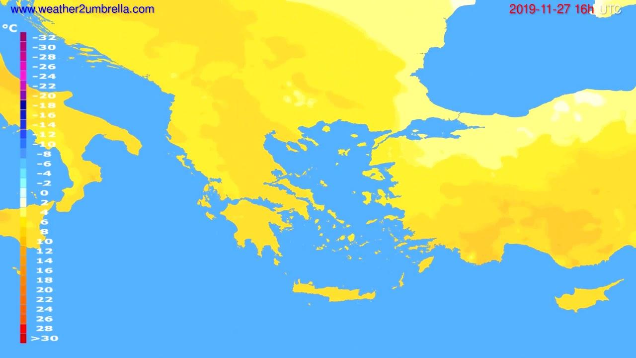 Temperature forecast Greece // modelrun: 12h UTC 2019-11-26