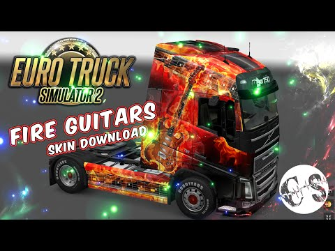 Volvo FH 2012 Fire Guitars Skin + Trailer
