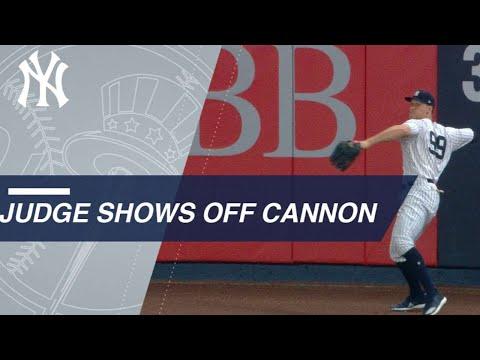 Aaron Judge shows off arm twice vs. Angels