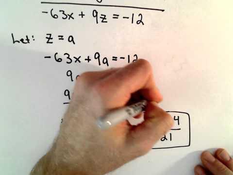 Lösung  eines Systems zweier  Gleichungen mit 3 Unbekannten - unendlich viele Lösungen