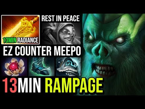 WTF 13Min Radiance + Rampage Necrophos - Super Tanky Ez Counter Meepo Mid 24Kills EPIC JUNGLE Dota 2
