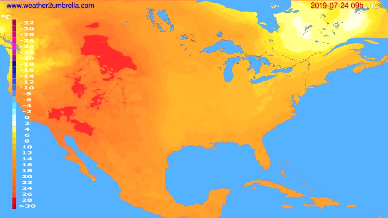 Temperature forecast USA & Canada // modelrun: 12h UTC 2019-07-22