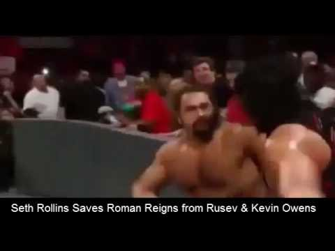 WWE Raw september 2016 Seth Rollins saves Roman Reigns from Rusev & Kevin Owens Steel Cage Match