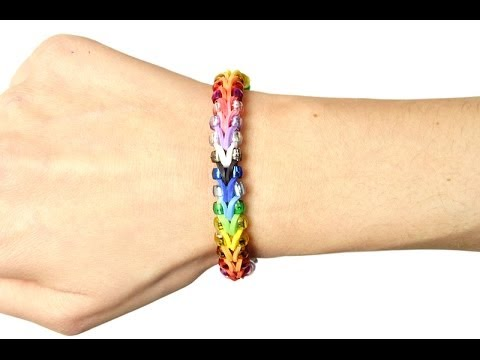Loom bands V tutorial braccialetto elastico con perle (rubber bands bracelet with beads)