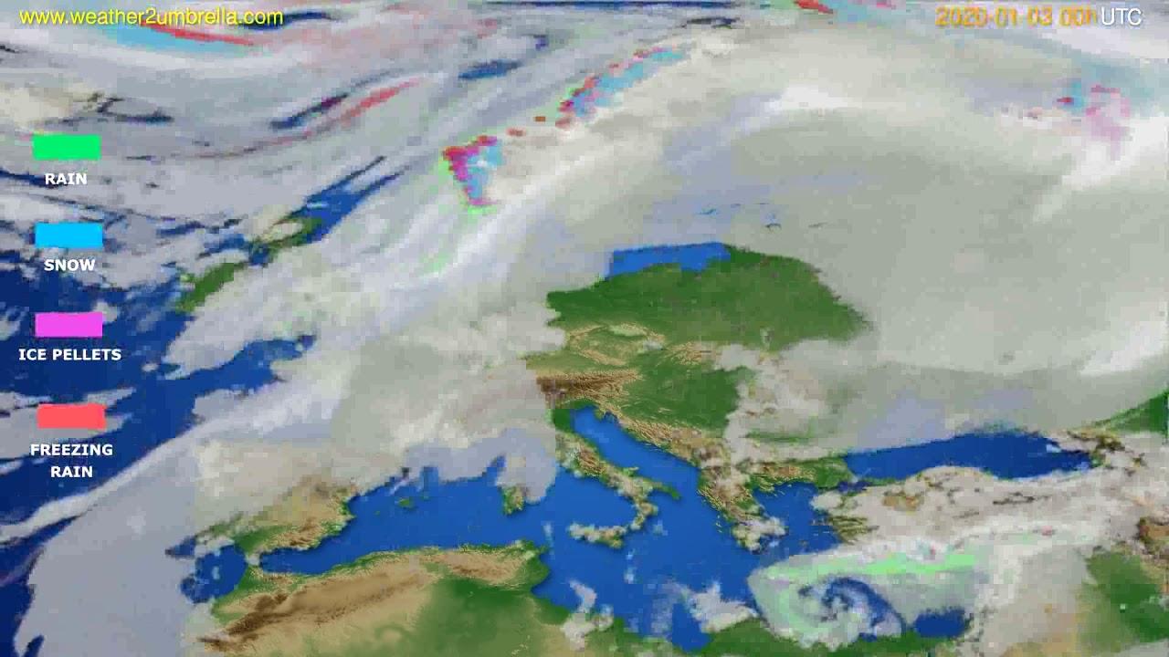 Precipitation forecast Europe // modelrun: 00h UTC 2020-01-02