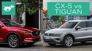 Which of these two medium SUVs is best? See who wins our Tiguan vs CX-5 comparison –and let me know which you like best below! SUBSCRIBE and join our car community! http://www.youtube.com/user/chasingcarsaustralia?sub_confirmation=1Compares interiors, practicality, price, and driving of the Volkswagen Tiguan vs Mazda CX-5.COMMENT your thoughts below and SHARE with your friends.READ our full 2017 Mazda CX-5 diesel vs 2017 Volkswagen Tiguan diesel test here: http://chasingcars.com.au/Australian video car review of the 2017 Volkswagen Tiguan and 2017 Mazda CX-5. See more video car reviews and Volkswagen news and Mazda news at http://chasingcars.com.au.Music by Audionautix:http://audionautix.com