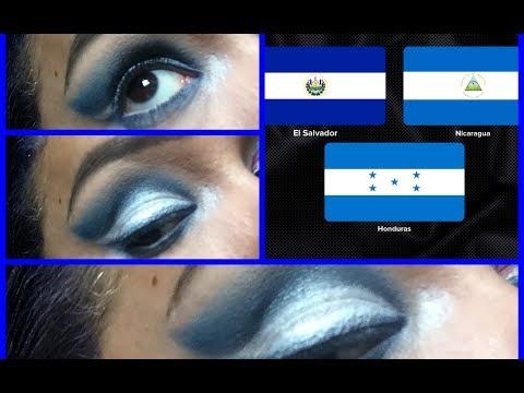 Makeup /Maquillaje bandera de El Salvador, Honduras y Nicaragua flag/ Independencia 15 de Setiembre
