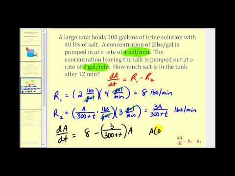 Applications of First Order Differential Equations - Mixing Concentrations 2