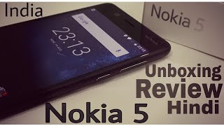 Hindi Nokia 5 unboxing & Overview. Hello Guys in this video I will Unbox Newly launched in India nokia smartphone series phone nokia5. And I will give a quick review and hands on of this device made by hmd global who makes mobiles for nokia. This Device is available on offline market and will be selling on few online sites. Talking about some specifications and features of nokia 5. It has 5.2 inch lcd display and 2.5 D gorilla glass protection. It comes with qualcomm snapdragon 430 with 1.4gz octa core processor. This varient has 2gb Ram and 16 Gb of internal storage. Pros of this phone is nokia brand value and the build quality. This is solid device with aluminium metalic unibody. cons are also present their because nokia 5 price in india is Rs 12800 and it has only 2gb/16gb ram and storage which is quite low in this price level. but  overall is good device for those who wants to purchase a trusted brand's device and the low budget phone for long term using perspective. face detection auto focus 13mp Rear Camera and 8 mp auto focus front camera gives you avg quality experince but not that bad.Can we get 100 likes ?Subscribe Tech indian and press bell icon For more upcoming videoshttps://www.youtube.com/channel/UCrBPaqNc8SP3K0Q_LFJlhIgWatch other latest smartphones unboxing and reviews in this playlisthttps://www.youtube.com/playlist?list=PL50hKVPieUrWVdKRqvOXBTjTJb634QKGYcheck few other budget smartphones under Rs 20000-------------------------------J7 Prime 32Gb http://amzn.to/2vRkjYF-------------------J7 max 32 gbhttp://fkrt.it/dvSbETuuuN----------------------------------------------J7 pro 64 Gbhttp://fkrt.it/dnvniTuuuN----------------------------------------------Galaxy Onmax 32 Gbhttp://fkrt.it/d3x~ATuuuN------------------------------------------------Moto G5 Plushttp://amzn.to/2wZq7fs------------------------------------------------- Nokia 3 Rs 10299http://amzn.to/2wZJB3lThanks For Watching ------