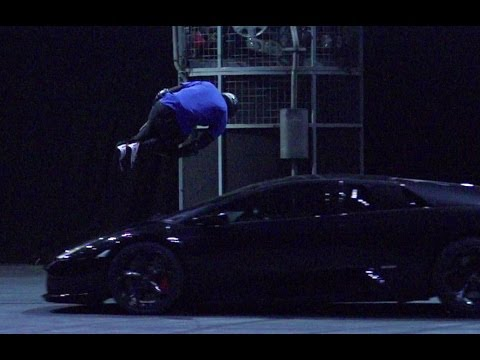 runner - Paul Joseph aka 'Blue' from Storm Freerun jumps over a Lamborghini Murciélago at Top Gear Live 2014 Glasgow. Richard and James look on as he warms up to the ...