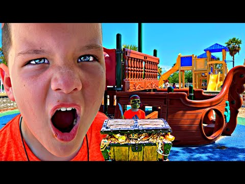 PIRATE PRETEND PLAY! Caleb Finds Chocolate Gold Coins TREASURE and Surprise Egg at Beach Playground