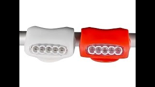 Silicone Ultra-Bright Bicycle LED Light Flexible Silicone Body, Waterproof.https://eternityledglow.com/product-category/bicycle-safety-lights/Shipped From USA - Delivery 2-5 Business DaysComes as a set of two safety lights (one white light for the front and one red light for the back)Each safety light have 3 lighting modes: 1) Fast Flashing, 2) chasing light 3) Constant light, and Have 7 LED lights inside 5 in the front and 2 from the sides for strong lighting and extra visibilityWater and shock resistant with Flexible Silicone rubber that gives easy installation on almost anything Handlebar, Seat, Baby stroller, Wheelchair, Helmet, Wheel, Hub, etc.Operated by 3 AAA batteries (included) that can be replaceable easily and last extremely long due the small power conception of the LED'sLED bicycle Safety light is the perfect way to keep you seen and safe at night or in the dark!!! our LED bicycle safety light made from waterproof Flexible Silicone rubber that gives easy installation on almost anything, the LED light inside gives strong lighting and low energy consumption, this LED bicycle safety light operated by 3 AAA batteries and have 3 flashing modes Fast Flashing Mode, chasing light mode and Constant Mode comes in two colors red light and white light including batteries. With easy installation this safety light can be mounted on Handlebar, Seat, Helmet, and more.