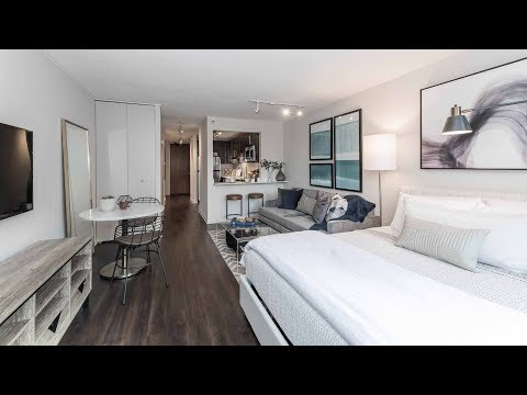 A park-view studio model at the luxurious North Harbor apartments