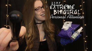 ASMR EXTREMELY BINAURAL PERSONAL ATTENTION | Gentle Kisses, Facial Poking, Spraying, Brushing & MORE