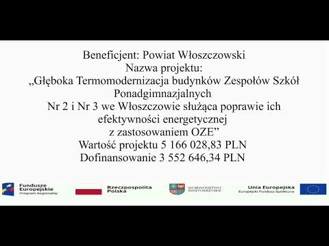 Głęboka Termomodernizacja budynków Zespołów Szkół Ponadgimnazjalnych Nr 2 i Nr 3 we Włoszczowie