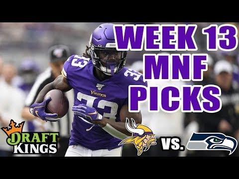 DRAFTKINGS NFL WEEK 13 MNF SHOWDOWN PICKS | MONDAY NIGHT FOOTBALL PICKS (VIKINGS VS. SEAHAWKS)