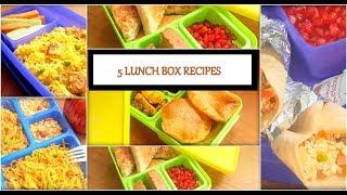 5 Lunch Box Recipes | Sandwich | Jeera Aloo Poori | Paneer Pulao | Vermicelli Paneer | Rolls Franky
