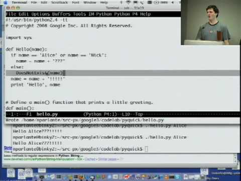 Python - Google Python Class Day 1 Part 1: Introduction and Strings. By Nick Parlante. Support materials and exercises: http://code.google.com/edu/languages/google-py...
