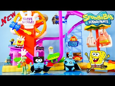 toys - New Spongebob Squarepants Imaginext Roller Coaster Playset By Fisher Price 2014 !! Featuring The Fiery Fist O Pain, Tunnel Of Glove Boat, A Ferris Wheel, and...