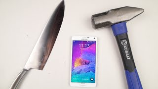 Samsung Galaxy Note 4 Hammer&Knife Test