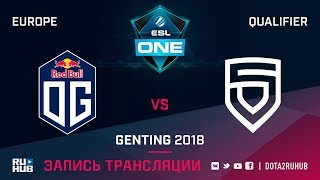 OG vs PENTA, ESL One Genting EU Qualifier, game 1 [Maelstorm, Jam]