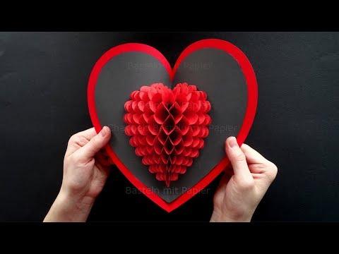 Pop Up Karte basteln mit Papier: Herz ❤ Geschenke selber machen. Bastelideen Muttertag, Geburtstag