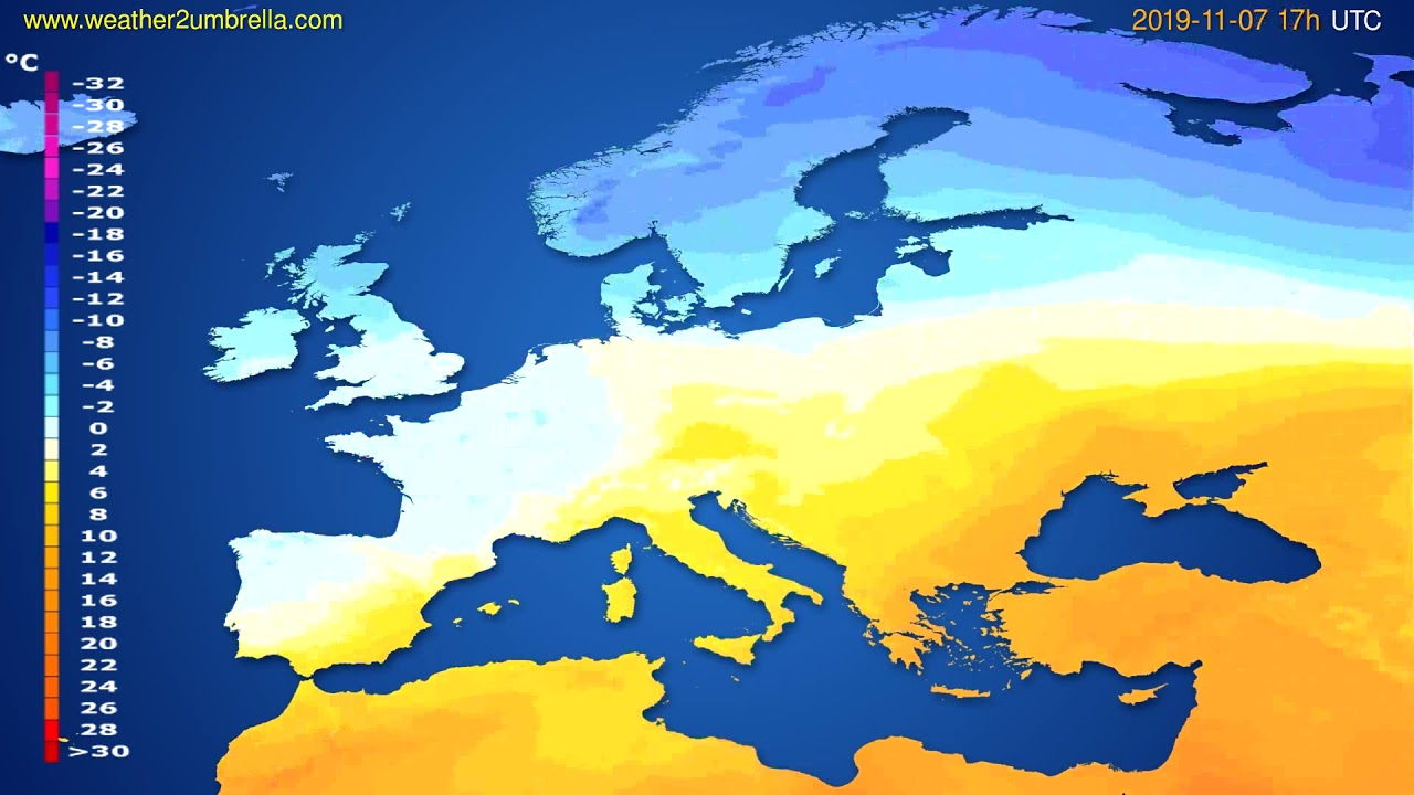Temperature forecast Europe // modelrun: 00h UTC 2019-11-06