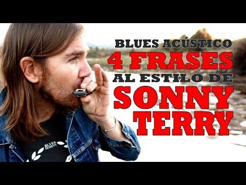 CUATRO Frases de BLUES ACÚSTICO estilo SONNY TERRY  Armónica en C  Harpvard