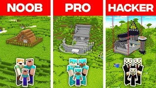 Minecraft NOOB vs PRO vs HACKER: FAMILY SAFEST BASE BUILD CHALLENGE in Minecraft! (Animation)