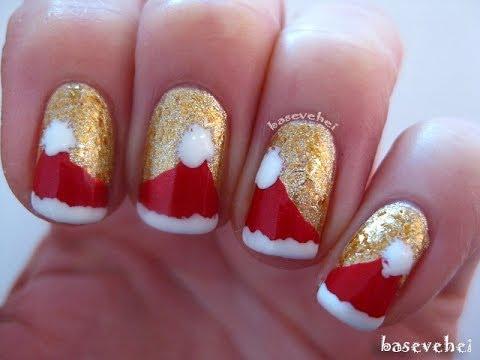 Santa Claus Nail Art - mikołajowe paznokcie - wzorek - Basevehei