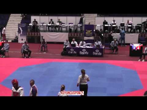 80kg Adrian ANGYAL (SVK) vs (ISL) GISLASON Kristmundur (-21 European TKD Championships 2015) (видео)