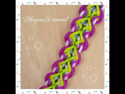 "New ""Marquise Diamond"" Hook Only Rainbow Loom Bracelet/How To Tutorial"