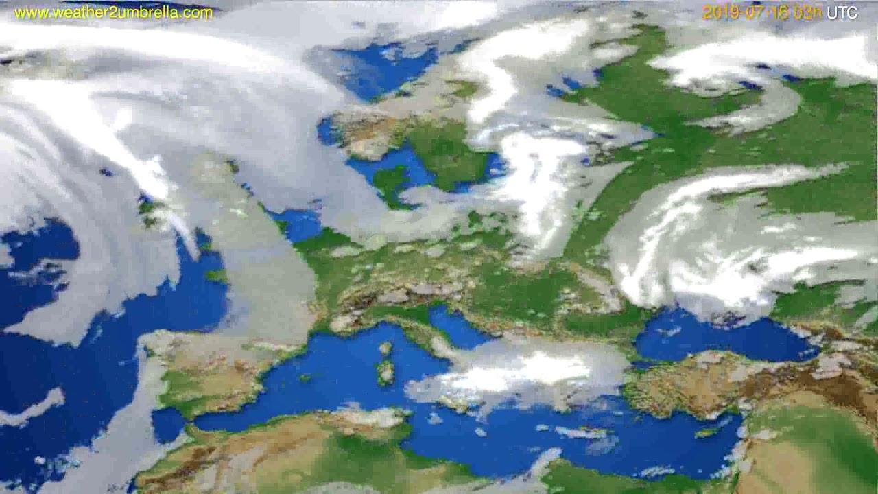 Cloud forecast Europe // modelrun: 00h UTC 2019-07-13