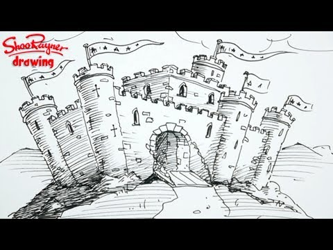 how to draw a castle spoken tutorial painting a day