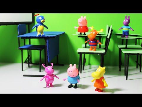 Pig George e Peppa Pig vão à Escola com os Backyardigans.