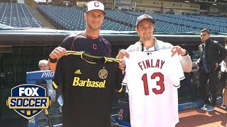 Crew SC's Ethan Finlay throws first pitch at Indians game #SNHU by FOX Soccer