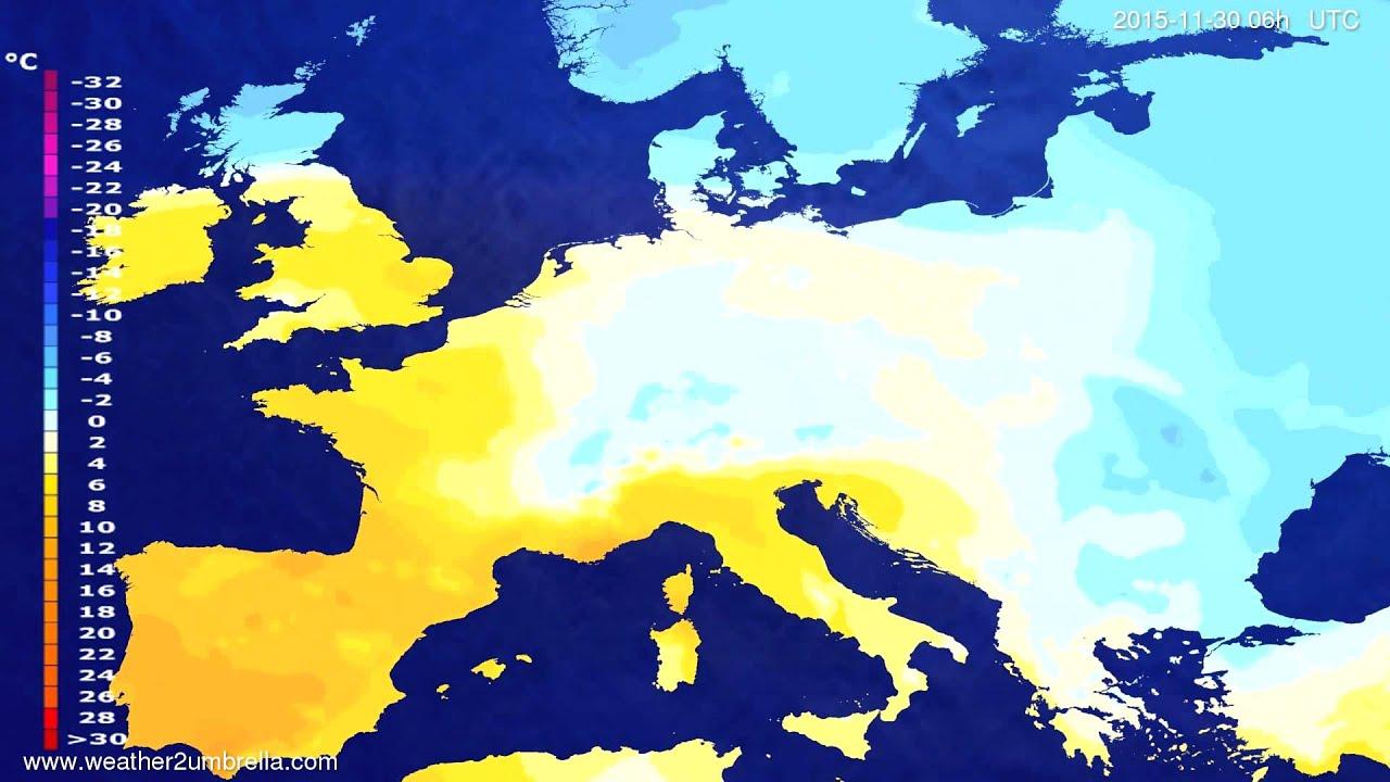Temperature forecast Europe 2015-11-26