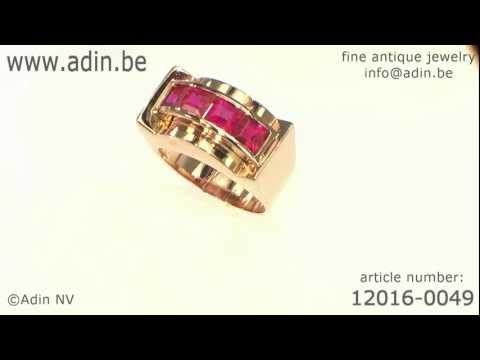 Ruby rose gold Retro ring 1940s (12016-0049)