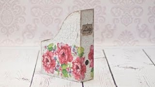 How to decorate a wooden box for documents decoupage - DIY - YouTube