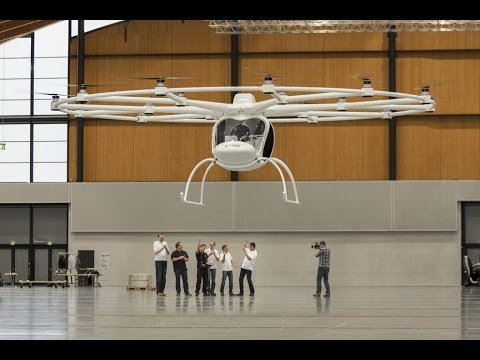 flight - http://www.e-volo.com __ Two years after the first manned Volocopter VC1, our e-volo team presented the two-seater VC200. The first radio controlled flight t...