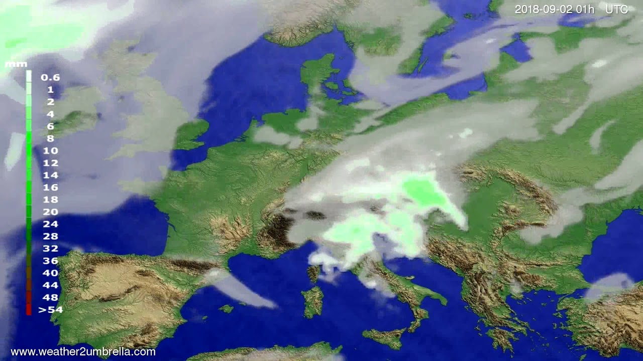 Precipitation forecast Europe 2018-08-30