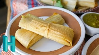 Check out Hilah's Happy Hour - my new weekly podcast! http://vid.io/xca1Tamales de rajas con queso are my FAVORITE kind! These vegetarian tamales are filled with cheese and roasted poblano peppers. Tamales are a Christmas Eve tradition in my family and your family will love them, too! ***** Veg Tamales Recipe BelowNew cooking videos every week! Subscribe to be notified when I release a new video! https://www.youtube.com/subscription_center?add_user=hilahcooking  Check out all my video recipes:https://www.youtube.com/user/hilahcookingVegetarian Tamales Ingredients1 bag dried corn husks3 cups dry masa harina2 cups of vegetable or chicken broth3/4 cup soft butter (12 tablespoons) or lard if not vegetarian2 tablespoons oil (OMIT if using lard)1-2 teaspoons saltFilling2-3 poblano peppers8-10 ounces Monterey Jack, Oaxacan, Asadero or Manchego cheese1 cup salsa verdeRecipe at http://hilahcooking.com/vegetarian-tamales-de-rajas/My cookbooks and classes https://hilahcooking.mykajabi.com/Facebook : http://www.facebook.com/hilahcooking Twitter : http://twitter.com/hilahcooking Pinterest: http://pinterest.com/hilahcooking/Instagram: http://instagram.com/hilahcookingHilah Cooking is a short-form, educational web cooking show focused on making cooking FUN! I show you simple, low-cost recipes with a Texas flair. Everything from how to make tortillas, to churros, to how to poach an egg. Basic cooking techniques and delicious home cooking recipes. New videos every Thursday!For over 450 video recipes and contact information, visit http://hilahcooking.com