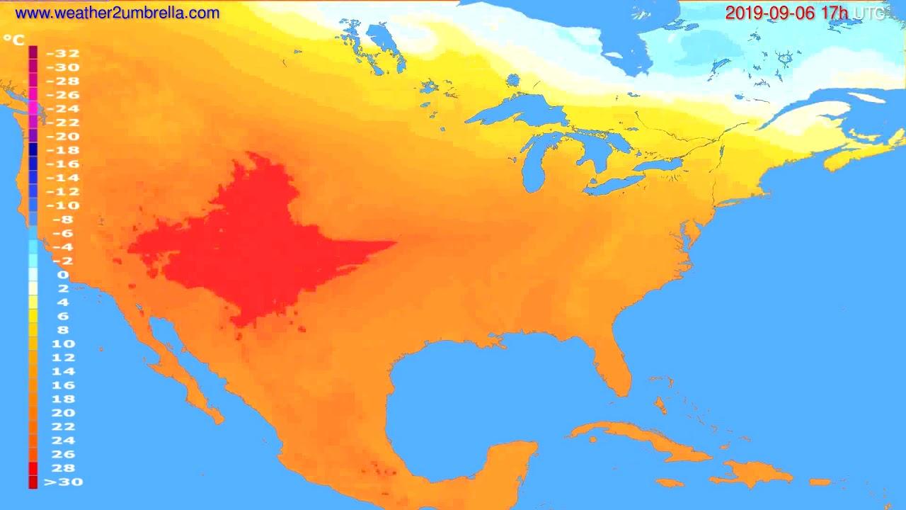 Temperature forecast USA & Canada // modelrun: 00h UTC 2019-09-05