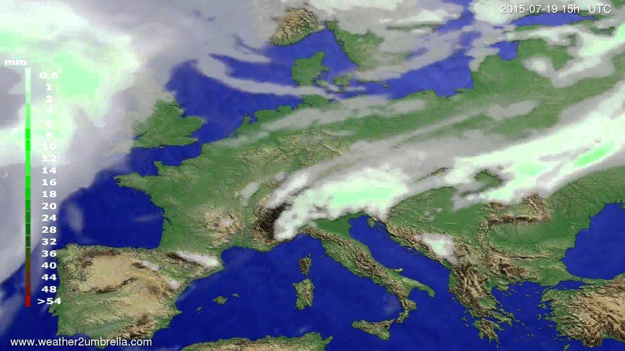 Precipitation forecast Europe 2015-07-15